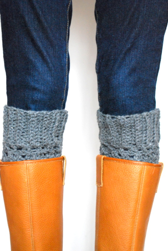 Charcoal Heather Boot Cuffs - Crochet - Boot toppers
