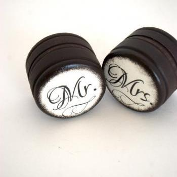 Mr & Mrs - Set 0f 2 - Wedding Ring Box - Customize -